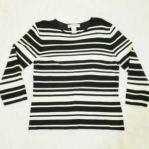 Jones NY Black White Stripe Crew Neck Blouse Med
